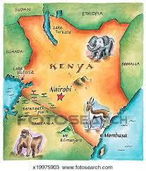 geographical map of kenya drawing of map of kenya x19975903 search clipart illustration
