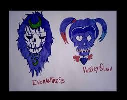 how to draw squad logo harley quinn and enchantress skulls