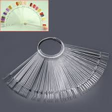clear 50 nail art tips colour pop sticks display fan false