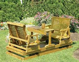 Patio Glider Bench Furniture Appealing Double Wooden Outdoor Glider And Double Patio
