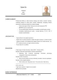 Resume Samples Normal resume template sample dylan ko