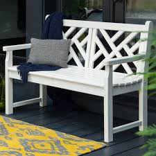 White Plastic Patio Table by Polywood U0026reg Chippendale Recycled Plastic 4 Ft Bench Walmart Com