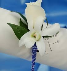 Blue Orchid Corsage White Sweetheart Rose And White Orchid Boutonniere Blue