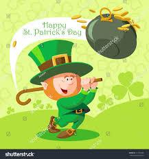 card st patricks day cute leprechaun stock vector 171396386