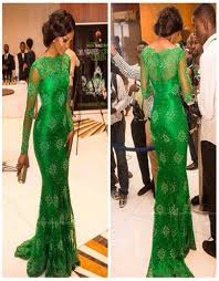 custom made 2016 emerald green lace prom dresses with high neck