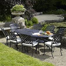 8 Seater Patio Table And Chairs Ancona Oval Table Set With 8 Venice Armchairs Black Metal Garden