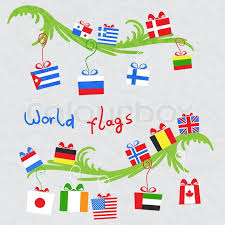 gifts from around the world on tree stock vector
