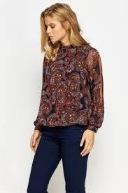 paisley blouse high neck paisley print blouse just 5