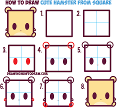 how to draw cute kawaii cartoon baby hamster from squares with