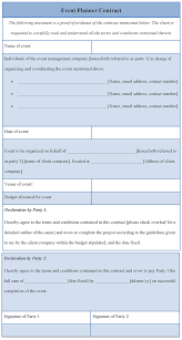 Event Planner Sample Resume Event Planner Contract Template Event Planner Template