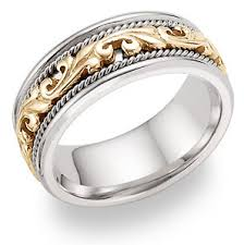 two tone wedding bands 14k two tone gold paisley wedding band