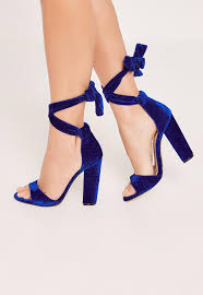 cobalt blue croc pattern block heel sandals missguided