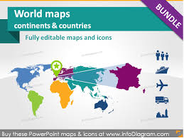 world maps continents countries population transport icons
