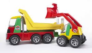 bruder garbage truck bruder 20070 roadmax transporter with skid steer loader