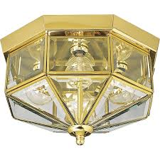 Brass Lighting Fixtures by Progress Lighting P5789 10 Octagonal Close To Ceiling Fixture With