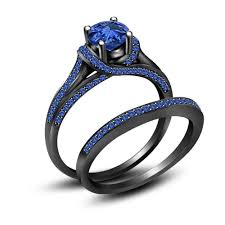black wedding sets black and blue wedding ring set