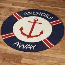 anchors away round rug