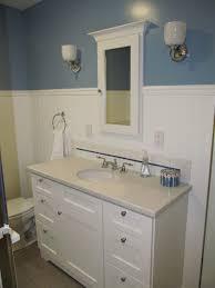 Wainscoting Bathroom Vanity Vanity Next To Wainscot In Bathroom Alongside Off Center Sink