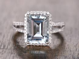 engagement rings emerald cut aquamarine ring 2 rows pave diamond halo ring emerald cut