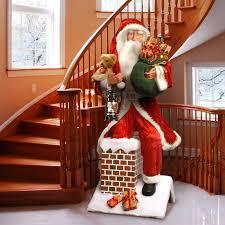 national tree co plush décor plush santa climbing chimney