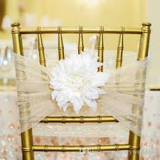 Vintage Wedding Chair Sashes 2017 Custom Made 2017 Sparkly Tulle 3d Flower Chair Covers Vintage
