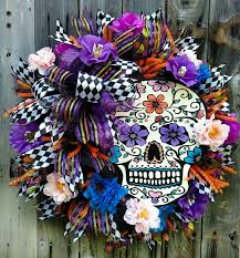 sugar skull wreath halloween wreath skull catrina day of the