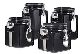 kitchen canister sets black oggi ez grip handle ceramic 4 canister set
