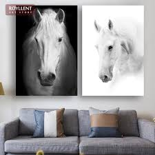 black and white horse close up photography painting for home