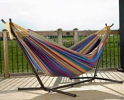 2 person hammock with stand portable cotton patio deck yard
