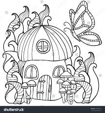 coloring pages mushroom house butterfly forest stock vector