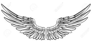 pair of spread out eagle bird or angel wings royalty free cliparts