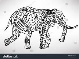 elephant handdrawn ethnic pattern coloring page stock vector