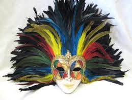 feather mask arlecchino multi color feathers venetian masks 1001