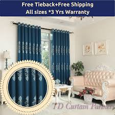 Custom Sheer Drapes Blue Floral Curtains Drape Sheer Eyelet Rod Pocket Pleat Blackout
