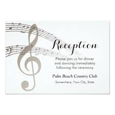 Wedding Reception Card Simple Music Notes Musical Wedding Reception Card Zazzle Com
