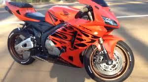honda cbr 600 orange and black short walk around and revs stock exhaust tribal orange cbr