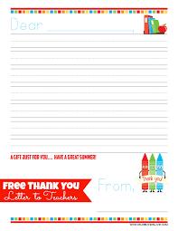 free teacher thank you letter gift idea