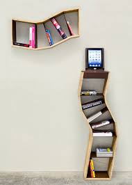 furniture wall mounted modern bookshelf come with curve wooden