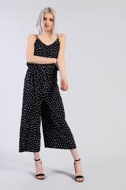 glamorous clothing polka dot pleated jumpsuit by glamorous clothing topshop