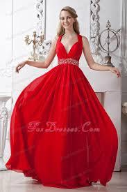 red empire chiffon beading prom evening dress brush train