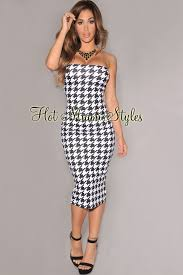 houndstooth dress white houndstooth print strapless padded midi dress