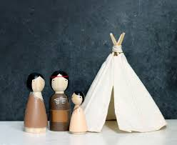 native american wooden peg dolls and miniature teepee