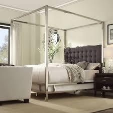 inspire q solivita off white linen canopy button tufted metal