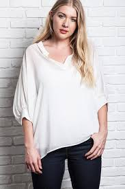 plus size white blouses plus size white semi sheer hi lo chiffon bibbed blouse