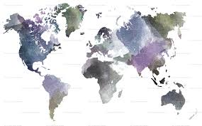 World Map Fabric by Watercolor World Giftwrap Thin Line Textiles Spoonflower