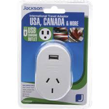 jackson outbound usa travel adaptor with usb port officeworks