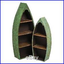 wooden shelving unit boat