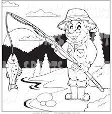 sports clip art of a man fishing at a lake by visekart 7223