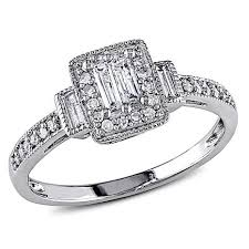 white gold diamond ring 10k white gold 0 31ctw baguette and white diamond engagement