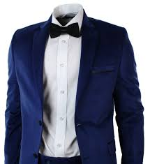 mens velvet slim fit blue suit blazer trouser u0026 bow tie wedding